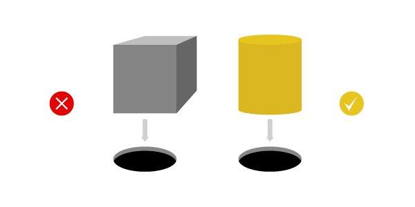 Square peg into round hole